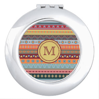 Monogram Tribal Autumn Colors Pattern Mirror Mirrors For Makeup