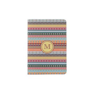 Monogram Tribal Colorful Geometric Passport Holder