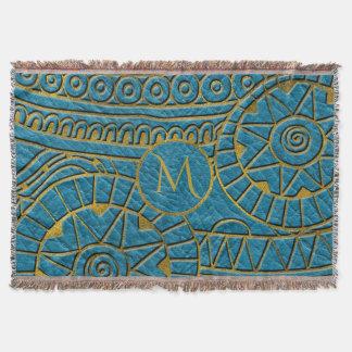 Monogram Tribal Ethnic  Pattern Gold on Teal Throw Blanket