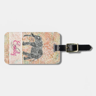 Monogram Tribal Paisley Elephant Colorful Henna Travel Bag Tags