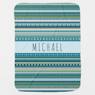 Monogram Tribal Teal Blue Pattern Baby Blanket