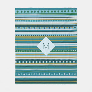 Monogram Tribal Teal Blue Pattern Fleece Blanket