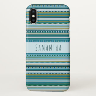 Monogram Tribal Teal Blue Pattern iPhone X Case