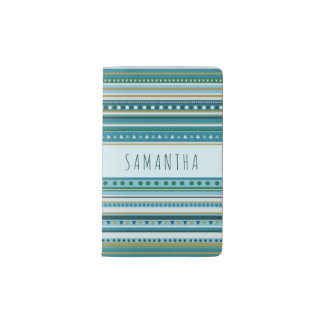 Monogram Tribal Teal Blue Stripes Pattern Notebook