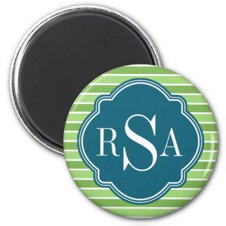 Monogram Trio Green Stripes Pattern Refrigerator Magnets