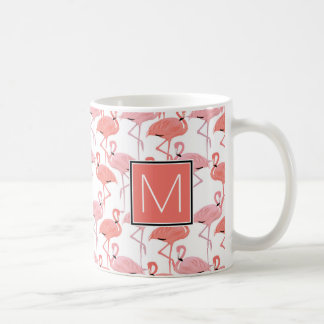Monogram | Tropical Pink Flamingoes Coffee Mug