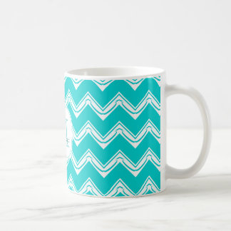 Monogram Turquoise and White Chevron pattern Coffee Mug