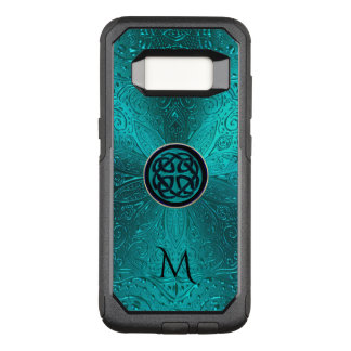 Monogram Turquoise Blue Green Celtic Knot Mandala OtterBox Commuter Samsung Galaxy S8 Case