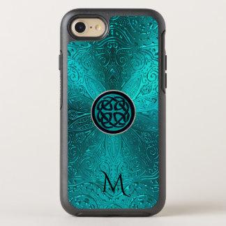 Monogram Turquoise Blue Green Celtic Knot Mandala OtterBox Symmetry iPhone 8/7 Case