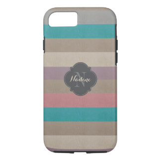 Monogram Turquoise, brown and violet striped iPhone 8/7 Case
