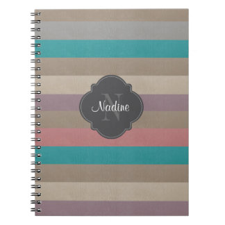 Monogram Turquoise, brown, and violet striped Notebook