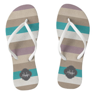 Monogram Turquoise,brown, white and violet Thongs