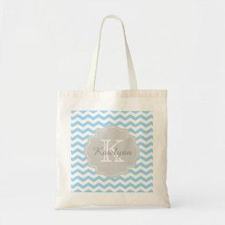Monogram Turquoise Chevron Zigzag Custom Tote Bag Budget Tote Bag
