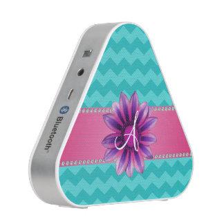 Monogram turquoise chevrons pink daisy bluetooth speaker