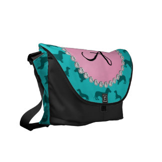 Monogram turquoise dachshund pattern courier bag