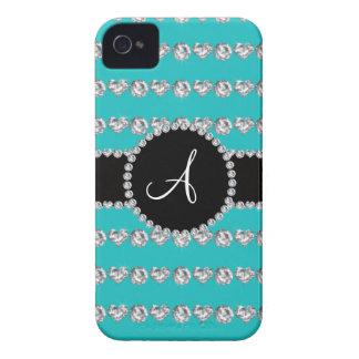 Monogram turquoise diamond hearts stripes iPhone 4 Case-Mate cases