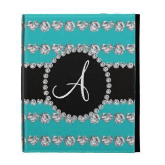 Monogram turquoise diamond hearts stripes iPad cases