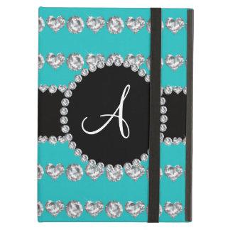 Monogram turquoise diamond hearts stripes iPad air cases