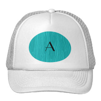Monogram turquoise faux bois trucker hat