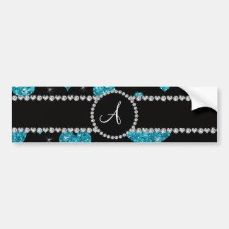 Monogram turquoise glitter hearts black diamonds bumper sticker