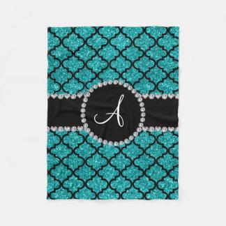 Monogram turquoise glitter moroccan fleece blanket