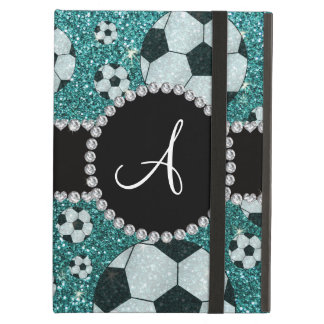 Monogram turquoise glitter soccer balls cover for iPad air