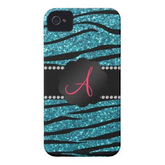 Monogram turquoise glitter zebra stripes Case-Mate iPhone 4 cases