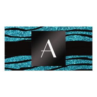 Monogram turquoise glitter zebra stripes personalised photo card