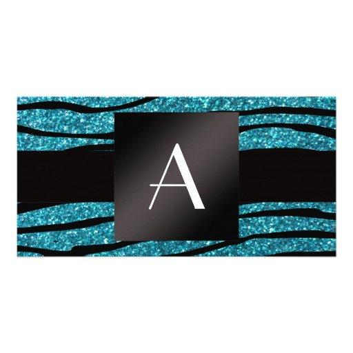 Monogram turquoise glitter zebra stripes photo card