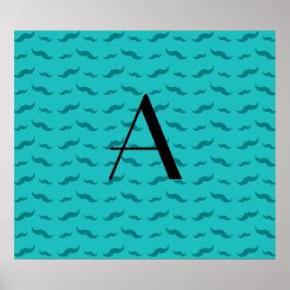 Monogram turquoise mustache pattern poster