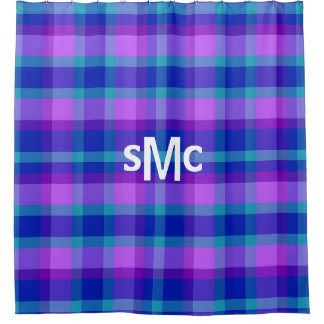 Monogram Turquoise Navy Blue Purple Lavender Plaid Shower Curtain