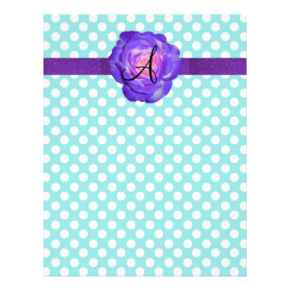 Monogram turquoise polka dots purple rose 21.5 cm x 28 cm flyer