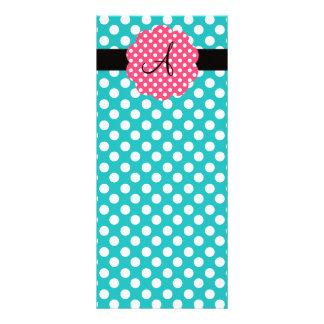 Monogram turquoise polka dots 10 cm x 23 cm rack card