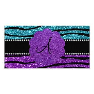 Monogram turquoise purple glitter zebra stripes photo cards