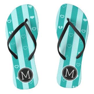 Monogram Turquoise Stripes Modern Heart Pattern Thongs