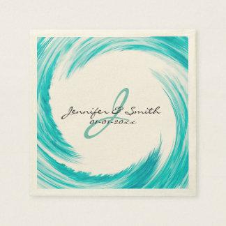 Monogram Turquoise Swirl Abstract Art Paper Napkin