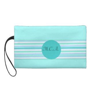 Monogram Turquoise & Turquoise Stripes Wristlet Clutch