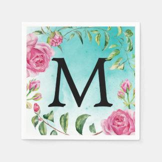 Monogram Turquoise Watercolor Floral Wedding Paper Serviettes