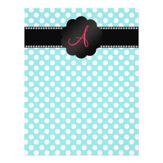 Monogram turquoise white polka dots custom flyer
