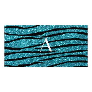 Monogram turquoise zebra stripes picture card