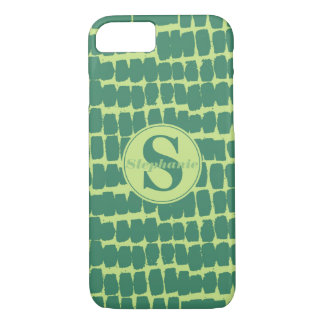 Monogram two-toned Green Grunge Marker Lines iPhone 8/7 Case