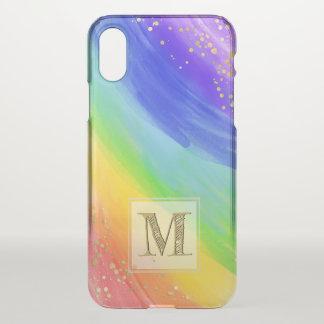 Monogram Typography Watercolor Gold & Rainbow iPhone X Case