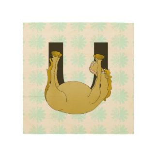 Monogram U Funny Pony Personalized Wood Canvas