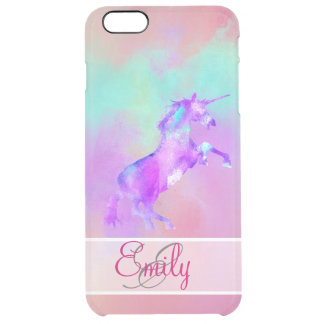 Monogram Unicorn Cute Pink Teal Purple Watercolors Clear iPhone 6 Plus Case