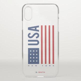 Monogram. US American Flag. New York. iPhone X Case