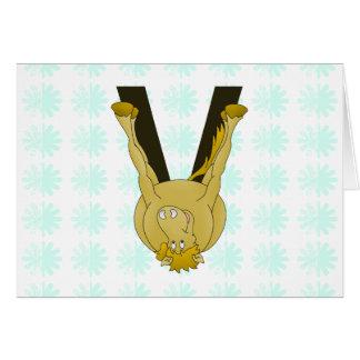 Monogram V Cute Horse Personalised Card
