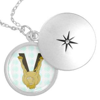 Monogram V Flexible Horse Personalised Round Locket Necklace