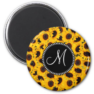Monogram Vibrant Beautiful Sunflowers Floral 6 Cm Round Magnet