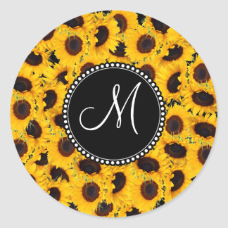 Monogram Vibrant Beautiful Sunflowers Floral Round Sticker