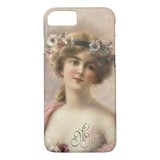 Monogram Victorian Nostalgia Vintage Flower Girl iPhone 8/7 Case